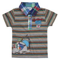 Hot Sell Ajiduo New Fashion Boys T Shirt Stripe Short Sleeve Cartoon Printed Children Clothes Cotton Kids Tops Wholesale