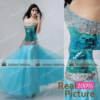 XU016 Blue elegant long evening dresses women luxurious prom evening gowns long crystal vestido de festa de casamento 2014 longo