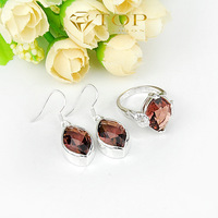 Leaf Shape  925 Sterling Silver Jewelry Sets Purple Topaz Earrings & Rings For Women Jewelry Sets