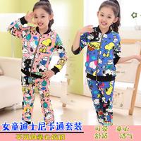 Children's clothing child spring and autumn twinset 2014 cartoon female child set children long-sleeve outerwear autumn