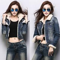 Winter Jacket Women Roupas Femininos Jeans Coat Denim Blazer with Fleece Warm Cool Sports Casual Winter Outerwear 2014 NZH037