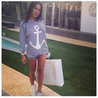 New 2014 summer fashion women striped anchor Long T-shirt Top s m Mini gum Free Shipping