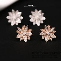 ZSE001  Wholesale 2014 New Designer AAA Cubic Zirconia Flowers Stud Earrings For Women Fashion Jewelry  bijoux POXE