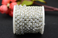 Free shipment handicrafts 4.2mm Crystal rhinestones chain silver  base for dresses  sewing Christmas decoration