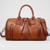 2015 New Woman's bag Genuine Leather Boston Bag High quality leather bag for women Fashion tassel handbags