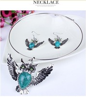new arrival jewelry Europe and America lovely vintage owl turquoise pendant necklace earrings set