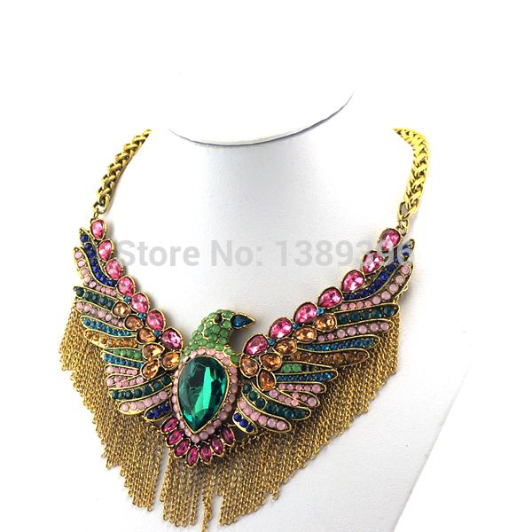 2014 Super Deals Trendy Women Alloy Link Chain Tassel Design Bird Chokers Collar Bib Vintage Large Eagle Necklace B00206(China (Mainland))