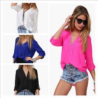 2014 New  Summer Hot Fashion Three Quarter Sleeve V-neck Blouse Casual Trendy European Style Female Chiffon Shirt Y398