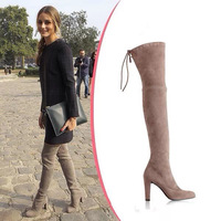 hot sale 2014 real leather suede over knee high boots elastic platform shoes woman tall autumn boots designer high heel boots