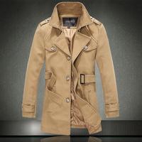 Hot selling  2014 new  male medium-long single breasted trench male  single breasted male coat  free shipping