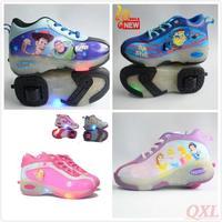 Free Shipping 2014 Fashion Roller Shoes Flashing Light Wheel skates kids cartoon design Shoes boys girls sneakers Boys Girls HD