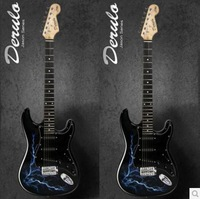 Top quality 2014 New ST guitar coloured drawing or pattern Very blue lightning