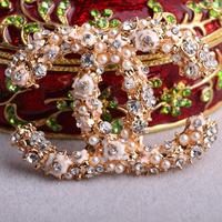 Factory Wholesale Price Fashion Luxury Paris Series top quality Zirconia Diamonds Flower Brand C Women Brooch !Free shipping!