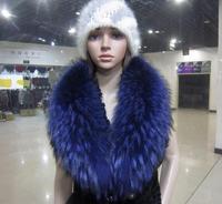 Fur clothing high quality raccoon fur collar super large shawl collar navy blue scarf collar fashion fur collar