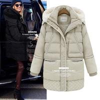 European's 2014 Brand Women's Long Design Lambs Wool Hooded Down Jackets Winter Fashion Ladies Thick Warm Parkas Coats Outerwear