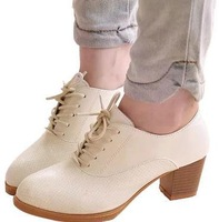 free shipping !The new 2014 han edition single thick with lace-up shoes