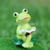 roogo zakka cartoon resin mini knowledge little frog animals figurine forest band scene decoration