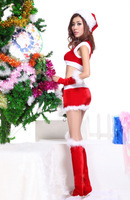 [SNY-0683]The new Christmas costumes Red cheongsam Christmas Santa dress show clothing wholesale and drop shipping