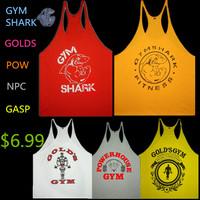 Fitness Spring 2014 cotton shark gym tank top men Sleeveless tops for boys bodybuilding clothing Sport undershirt wholesale vest