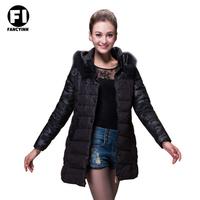 Fancyinn Brand 2014 Fashion women Winter Down jacket coat Ladies Long Style Hooded Down Jacket Black Wool Hat