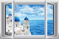 New Mediterranean Landscape  PVC Fake Window Sticker 70*46cm  Art Mural Home Decor Removable Wall Sticker hj-37