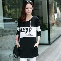 High Quality Autumn Women Shirt Loose Plus Size Letter Print Long Shirt Free Shipping c1320