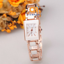 Rectangle dial quartz female watch Hot luxury gold color Ceramic classic women dress watches waterproof stainless steel WATCH