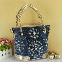 Hot selling 2014 women's diamond handbag fashion rinestone rivet women's denim bag one shoulder cross body portable bag