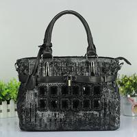 Hot selling 2014 new style women's denim diamond handbag rivet rhinestone women's tote bag  portable one shoulder cross body bag