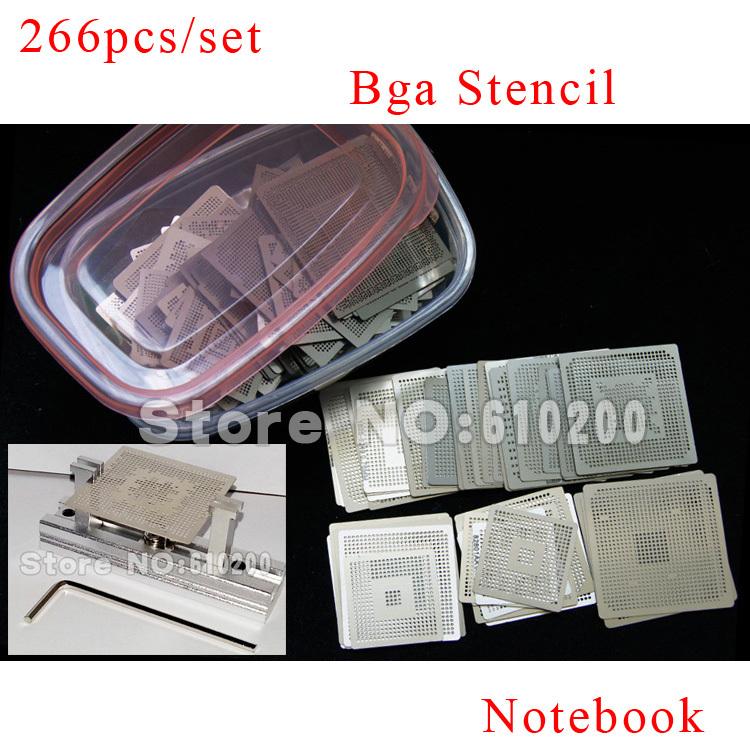 Free shipping NEW Notebook dedicated direct heating 266pcs/set Bga Stencil +BGA jig direct heating +Box BGA reballing kit(China (Mainland))