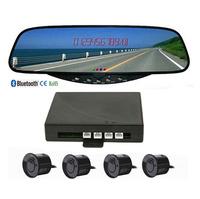Free Shipping!BT Bluetooth Rearview Mirror Monitor Parking sensor Beep Caller ID Display FM