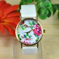 Geneva  Brand Watch Rose Flower Design Women Dress Watch Quartz Watch Xmas Gift  XWT024
