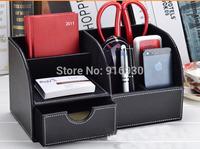 Fashion Hot leather desk organizer box remote controllers storage box case sundries box Wholesale / Retail #436