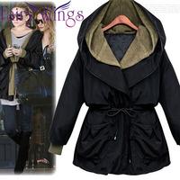 2014 Winter Coat Women Jacket Hooded Casual Thickening Cotton Parka Slim Waist Long Hooded Coat Winter Coat Overcoat PH2406