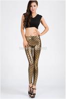 Women Free Size Golden Fish Scale Print Leggings High Waist