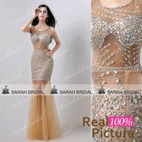 XU018Luxury crystal beaded mermaid evening dresses 2014 long formal dress long evening gowns Long vestido de festa sereia 2015