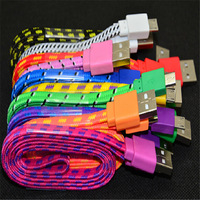 New arrival  Braided Wire noodle flat Micro USB Cable 1M 3ft Sync Nylon Woven V8 Charger cable for Samsung S3 S4 for Blackberry