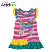 Hot Sell Ajiduo New Fashion Girls Dress Stripe Sleeve Butterfly Printed Kids Dress Cotton Summer Children Dress Wholesale
