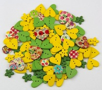 40g 15mm DIY 2 holes wooden buttons green and yellow colors mix shapes clothes botoes button for craft sewing scrapbooking