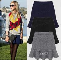 XL 2XL 3XL 4XL 5XL plus size women clothings fashion 2014 spring autumn ruffles casual short skirts black blue grey