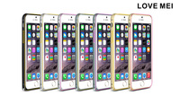 Free shipping 2014 New Ultra-thin LOVE MEI Hippocampus Buckle Metal Bumper Aluminium Case For iPhone 6 4.7inch