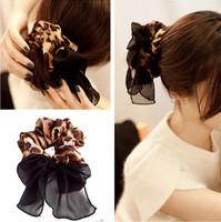 Leopard Printing Chiffon Cloth Fabric Hair ties/ Elastic Hair Bands Women fashion Hair accessories