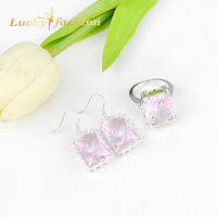 2014 Hot Sale Fashion Silver Plated Pink Crystal Ring/Earrings Wedding Accessories Jewelry Sets For Women