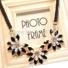 Free shipping 2014 Fashion Amazing Crystal Beaded Flower Necklaces & Pendants crystal bib big rhinestone necklace H6539 P(China (Mainland))