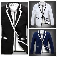 2014 Men Hitz Korean Autumn Long Sleeve Turn-down Collar Outwear Single Button Casual Coat Leisure Blazers Suit Jacket