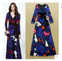 HIGH QUALITY New Fashion 2015 Runway Maxi Dress Women's Long Sleeve Stunning Velour Floral Floor Length Vintage Long Dress