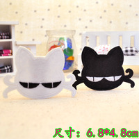 Small black cat cartoon with plastic cloth  ironing clothes large size wool decorative applique patch