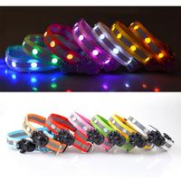 Free Shipping 10pcs/lot Diamond Strip Pet Flashing Collar, Length Adjustable Flashing Dog Collar, Led Glowing Dog Collar.