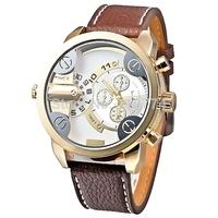 Big Round Dial Brown Leather Strap Luminous Hands Sport Casual Men Quartz Watch brown
