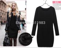 women girl casual autumn winter dress long-sleeved  thick cotton velvet dress cotton cashmere dresses  plus large size XL XXL